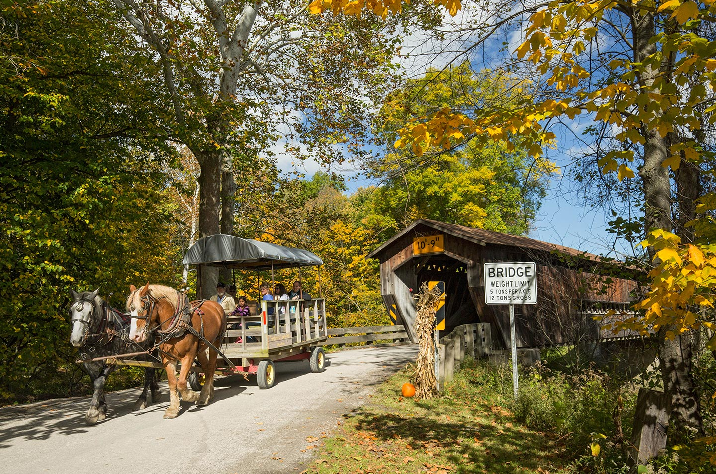 Hearthside.Grove.Lake.Erie.Motorcoach.Resort-Ashtabula.County.Benetka.Rd.Covered.Bridge.w.horse.carriage